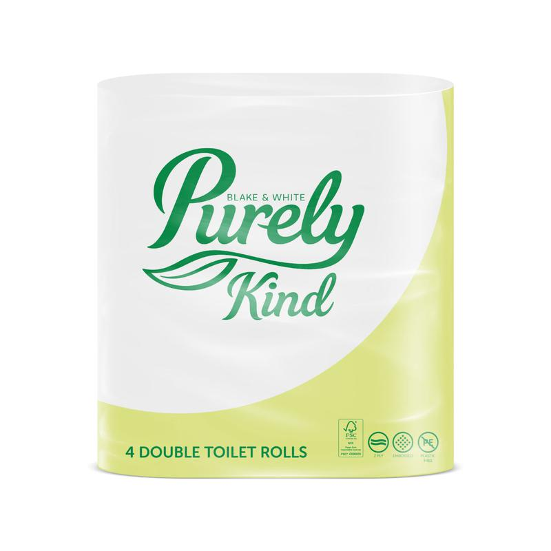 Toilet Tissue & Dispensers Purely Kind Toilet Roll 2 Ply Extra Long Plastic Free Packaging FSC (Pack 4) PK1123