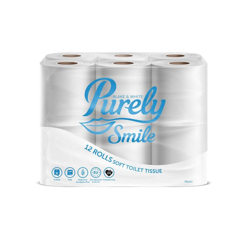 Toilet Tissue & Dispensers Purely Smile Toilet Roll 3Ply White (Pack 12) PS1125