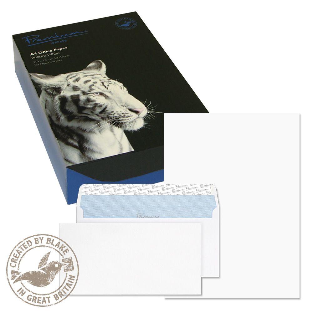 Blake Soho Ultra White Wove A4 Paper & WalletP&S DL envelopes 120gsm Pk250/50 34670 3to5 Day Leadtime