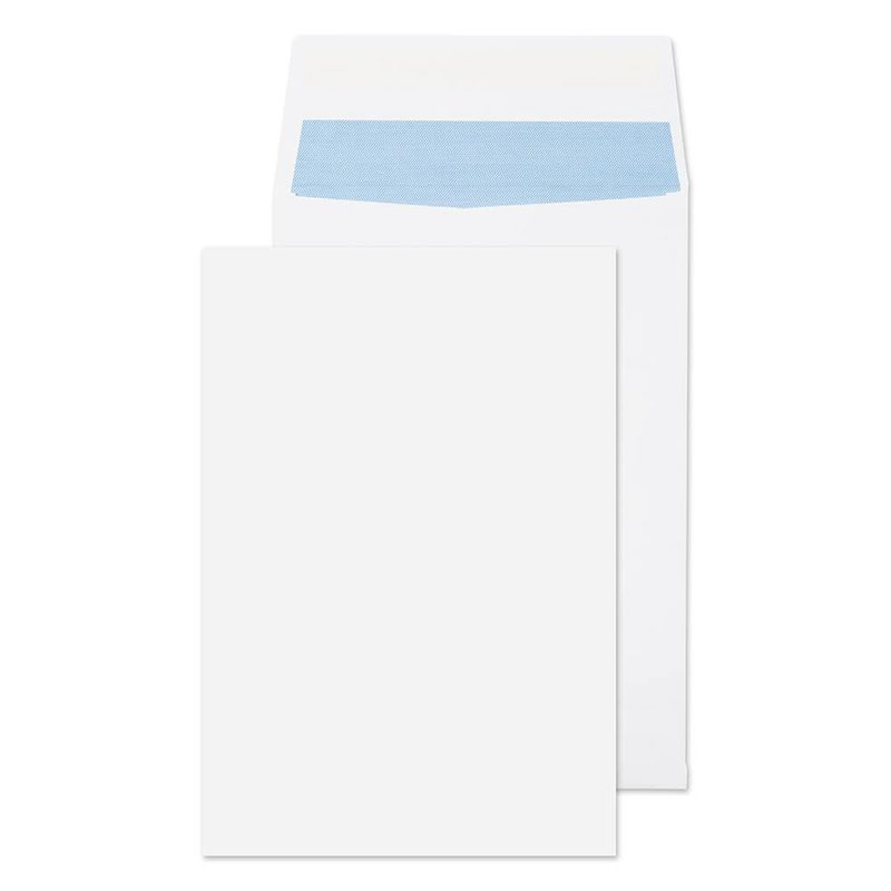 Blake Purely Packaging White Peel & Seal Gusset Pocket 324x229x25mm 140gsm Pack 125 Code 9000