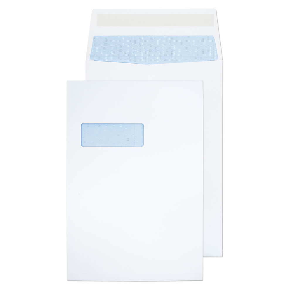 Gusset Envelopes ValueX Gusset Pocket Peel and Seal Window Envelope C4 324x229x25mm White (Pack 125)