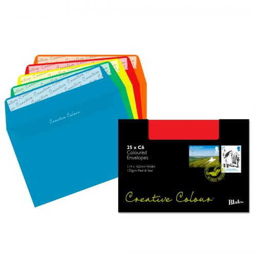 Blake Creative Colour Assorted Peel & Seal Wallet 114x162mm 120gsm Pack 25 Code 15123
