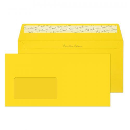Blake Creative Colour Banana Yellow Window Peel & Seal Wallet 114X229mm 120Gm2 Pack 500 Code 203W 3P