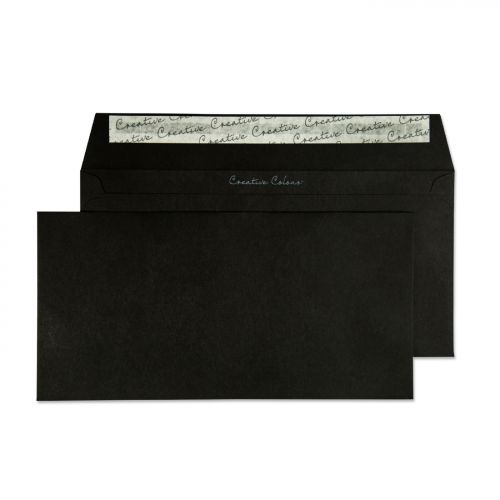 Creative Colour Jet Black Peel and Seal Wallet DL+ 114x229mm Ref 214 [Pack 500] *10 Day Leadtime*