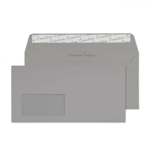 Creative Colour Wallet P&S Window Storm Grey 120gsm DL+ 114x229mm Ref 225W Pk 500 *10 Day Leadtime*