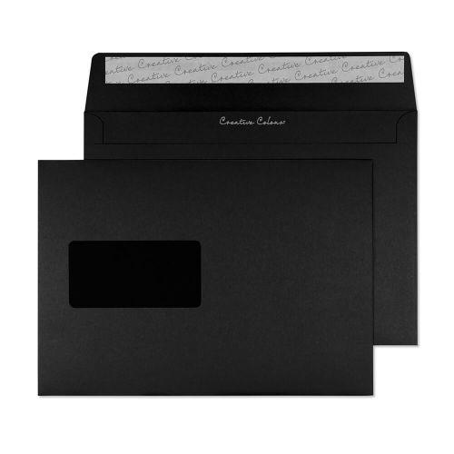 Creative Colour Wallet P&S Window Jet Black 120gsm C5 162x229mm Ref 314W Pk 500 *10 Day Leadtime*
