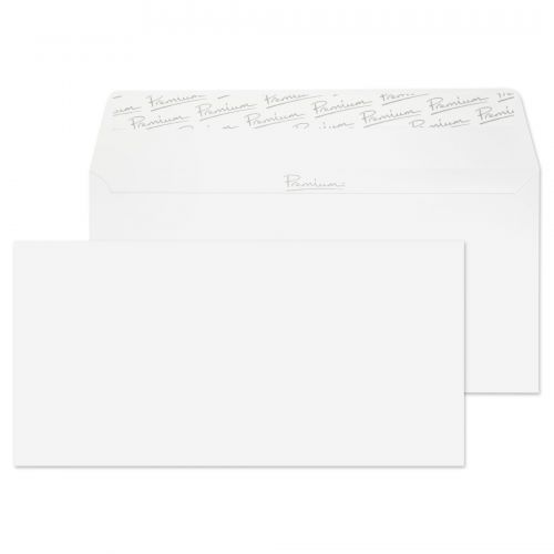 Essential DL Ice White Wove Peel & Seal Wallet Envelopes 110x220mm 120gsm (Pack 500) Code