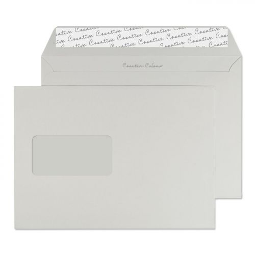 Creative Colour Wallet P&S Window Storm Grey 120gsm C5 162x229mm Ref 325W Pk 500 *10 Day Leadtime*