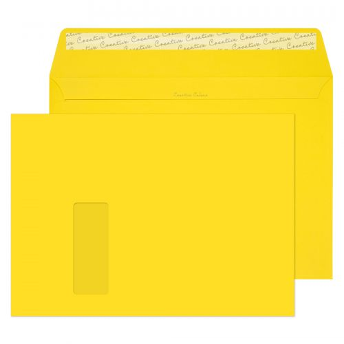 Creative Colour Banana Yellow P&S Wallet Window C4 229x324mm Ref 403W [Pack 250] *10 Day Leadtime*