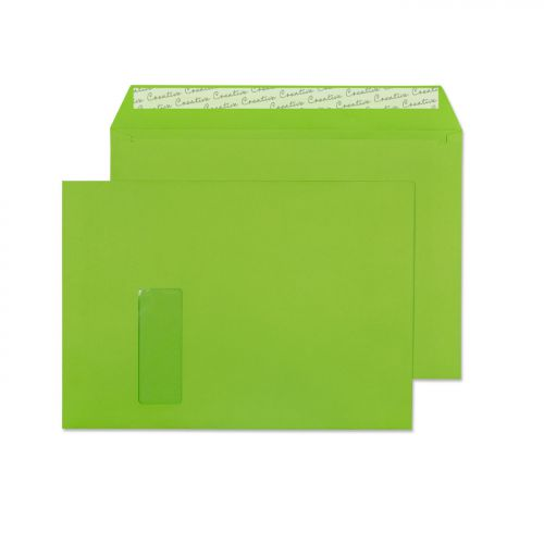 Creative Colour Lime Green P&S Wallet Window C4 229x324mm Ref 407W [Pack 250] *10 Day Leadtime*