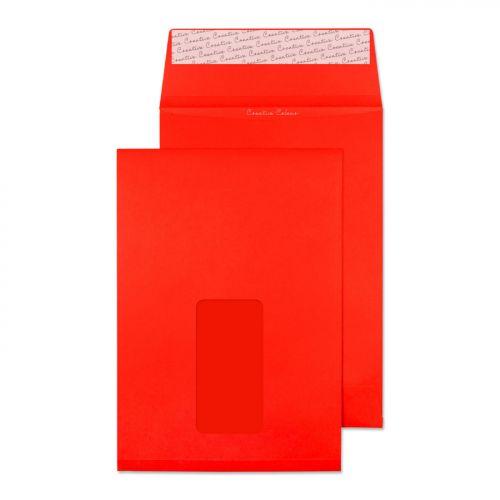 Blake Creative Colour Pillar Box Red Window P&S Gusset Pocket 229X162X25 140G Pk125 Code 6061W 3P