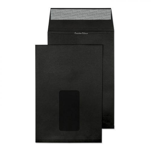 Blake Creative Colour Jet Black Window Peel & Seal Gusset Pocket 229X162X25 140G Pk125 Code 6141W 3P