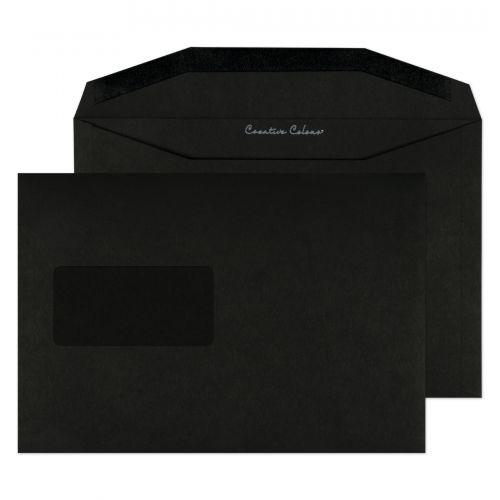 Blake Creative Colour Jet Black Window Gummed Wallet 162x235mm 120gsm Pack 500 Code 814MW
