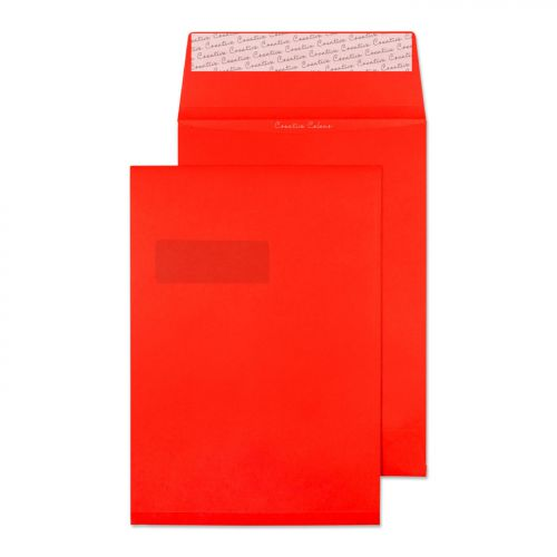 Blake Creative Colour Pillar Box Red Window P&S Gusset Pocket 324X229X25 140G Pk125 Code 9061W 3P