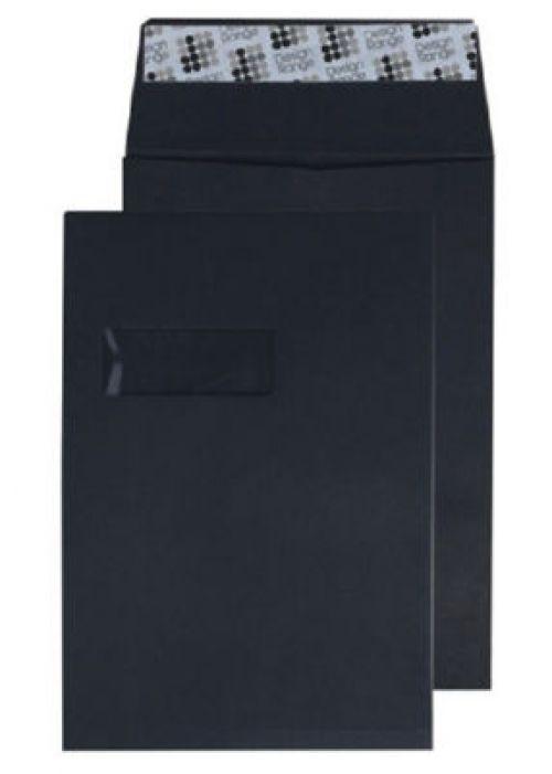 Blake Creative Colour Jet Black Window Peel & Seal Gusset Pocket 324X229X25 140G Pk125 Code 9141W 3P