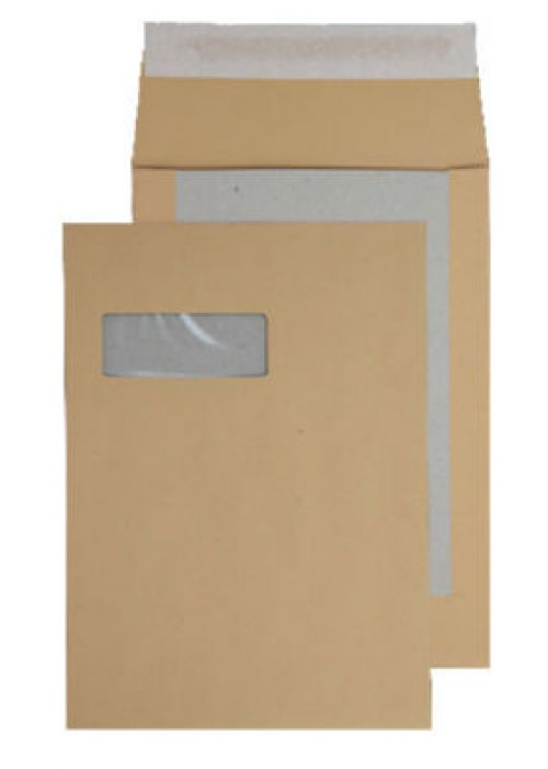 Purely Packaging Envelope Board Backed Gusset P&S C4 Window Ref 93901MW [Pk 125] *10 Day Leadtime*