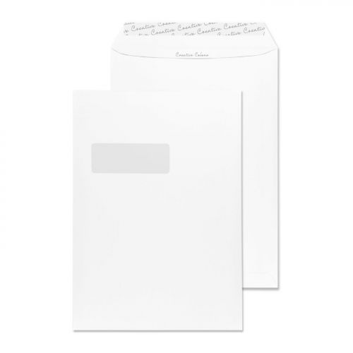 Creative Colour Pocket P&S Window Milk White 120gsm C4 324x229mm Ref 951W Pk 250 *10 Day Leadtime*