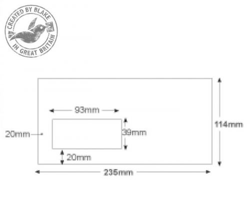 Purely Everyday Mailer Gummed Low Window White 90gsm DL+ 114x235 Ref 3909 Pk1000 10 Day Leadtime