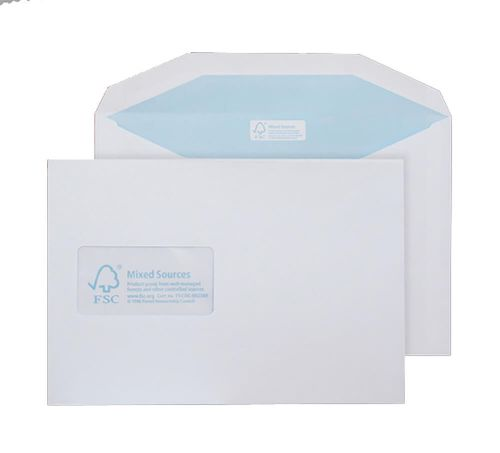 Blake Purely Environmental High White Window Gummed Mailer 162X229mm 90Gm2 Pack 500 Code Fsc378 3P