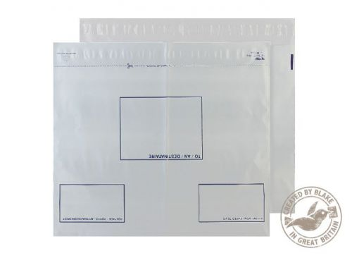 Blake Purely Packaging White Peel & Seal Polythene Wallet 620x440mm 70Mu Pack 100 Code PE104/W