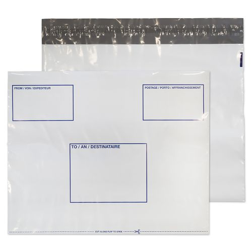 Purely Packaging Polypost Polythene Pocket Peel and Seal White C3+ 330x430mm PK100