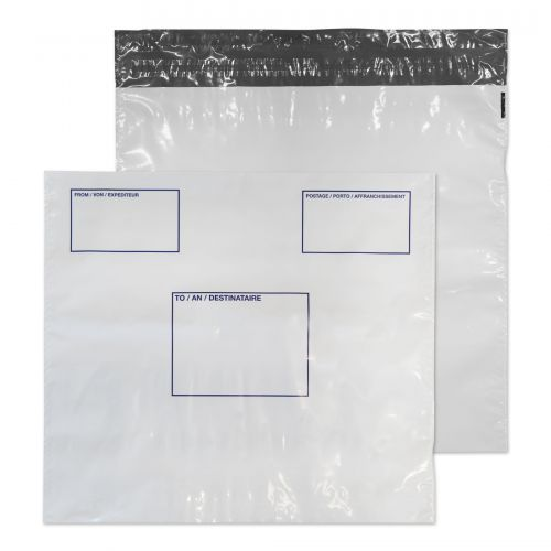 Blake Purely Packaging White Peel & Seal Polythene Wallet 460X430mm 50Mu Pack 500 Code Pe84/W 3P