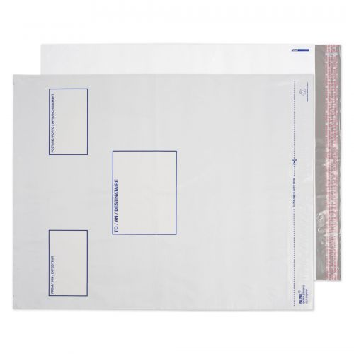 Blake Purely Packaging White Peel & Seal Polythene Pocket 525X450mm 70Mu Pack 500 Code Pe94/W 3P