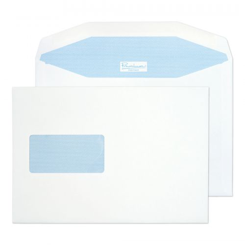 Blake Prem Pstfast Mail Wallet Wndw Gum White C5+ 162x235 90gsm Ref PF748DG Pk500 *10 Day Leadtime*