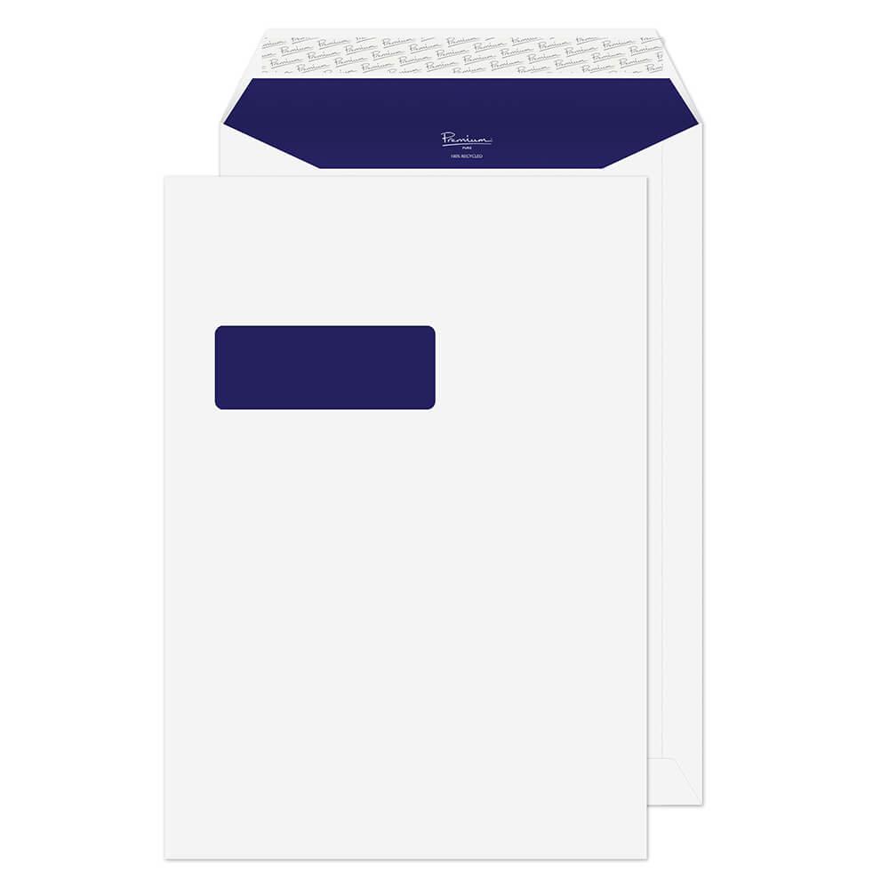 C4 Blake Premium Pure Pocket Envelope C4 Peel and Seal Window 120gsm Super White Wove (Pack 250)