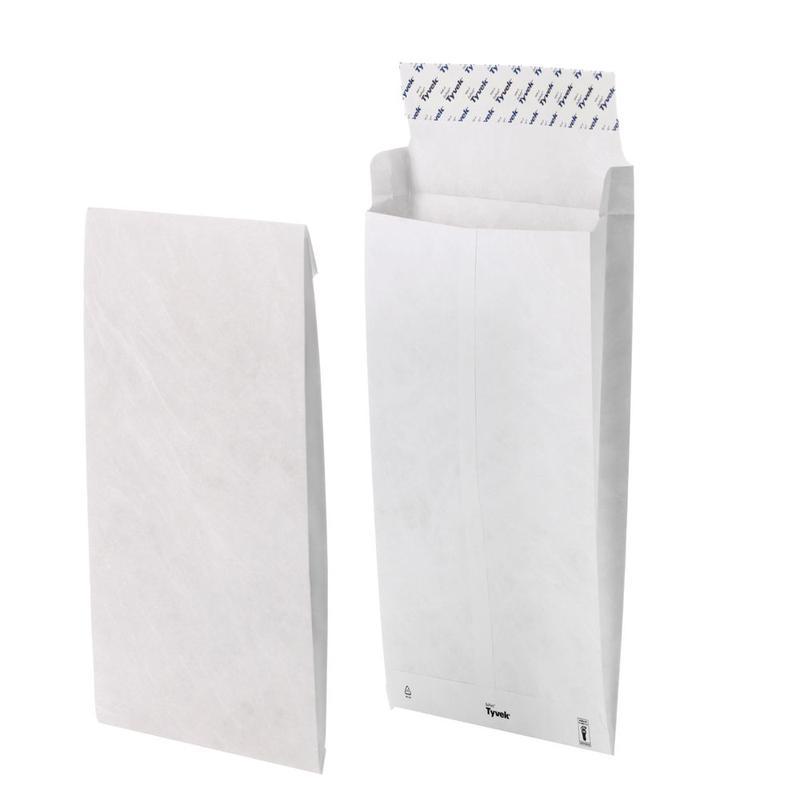 C4 Tyvek Pocket Gusset Envelope C4 Peel and Seal Plain 38mm Gusset 55gsm White (Pack 100)
