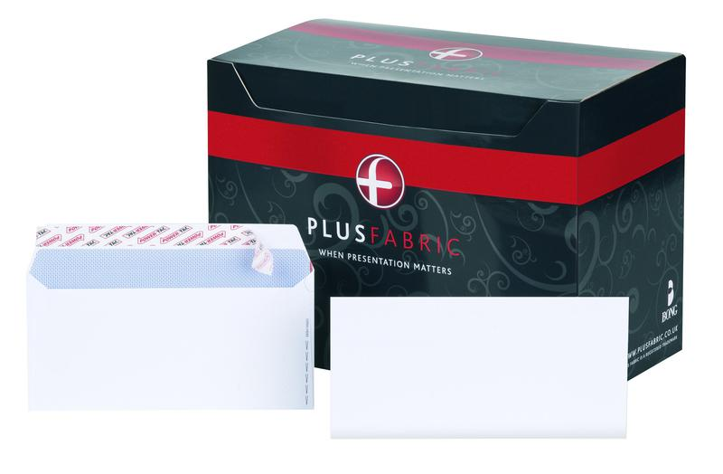 DL Plus Fabric Wallet Envelope DL Peel and Seal Plain Easy Open Power-Tac 120gsm White (Pack 500)