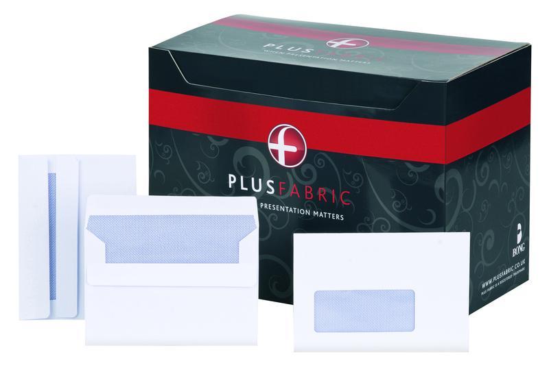 Plus Fabric Wallet Press Seal Window 120gsm C6 White PK500