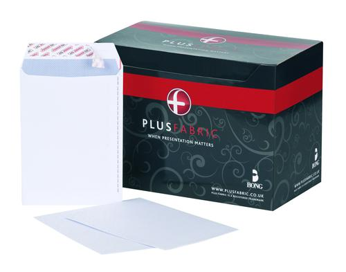 Plus Fabric Pocket Envelope C5 Peel and Seal Plain Easy Open Power-Tac 120gsm White (Pack 500)