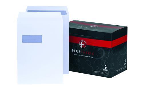 Plus Fabric Pocket Envelope C4 Self Seal Window 120gsm White (Pack 250)