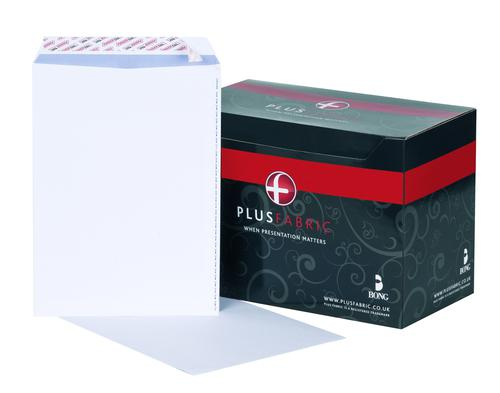 Plus Fabric Pocket Envelope C4 Peel and Seal Plain Easy Open Power-Tac 120gsm White (Pack 250)