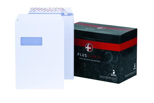 Plus Fabric Pocket Envelope C4 Peel and Seal Window Easy Open Power-Tac 120gsm White (Pack 250)