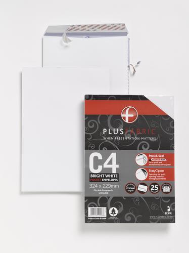 Plus Fabric C4 120gsm Peel and Seal Envelope White PK25
