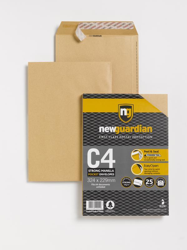 C4 New Guardian Heavywght Pocket Peel and Seal Manilla C4 PK25