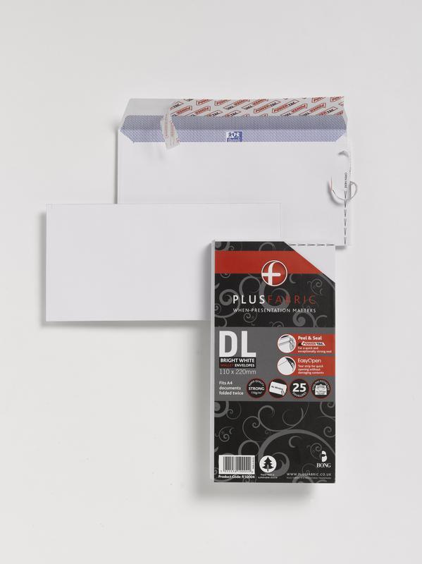 Plus Fabric DL 110gsm Peel and Seal Envelope White PK25