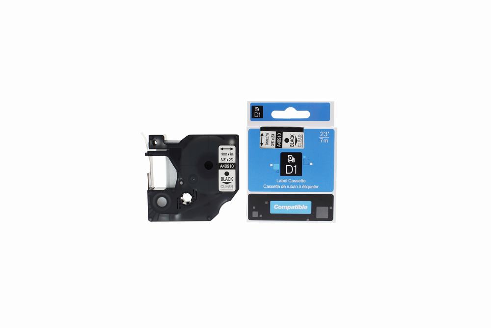 PWD - Cartridge Comp Dymo YT-40910 S0720670 Label Cassette Black on Clear