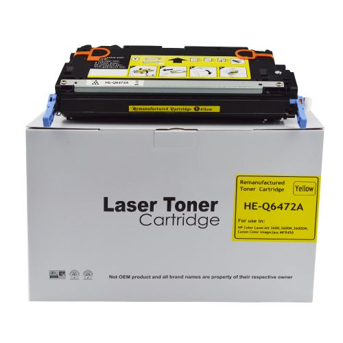 Alpa-Cartridge Reman HP Laserjet 3600 Yellow Q6472A Toner also for Canon 711 EP711Y