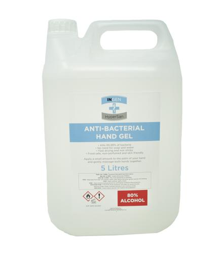 Ingen 5 Litre Anti-Bacterial Sanitising Hand Gel 80% Alcohol