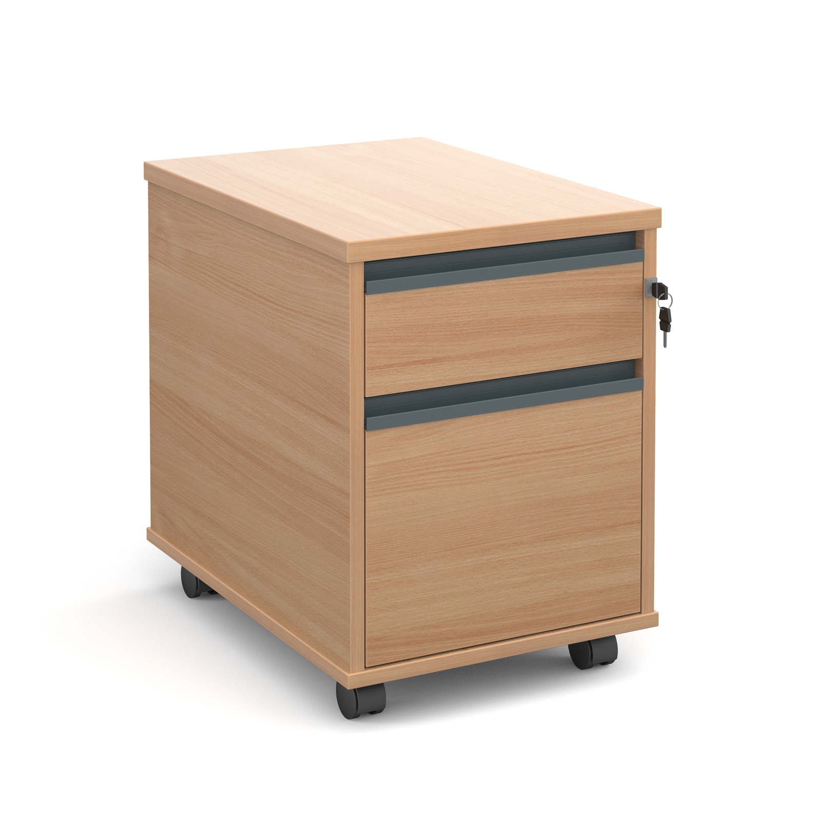 Mobile 2 drawer pedestal with graphite finger pull handles 600mm deep - beech