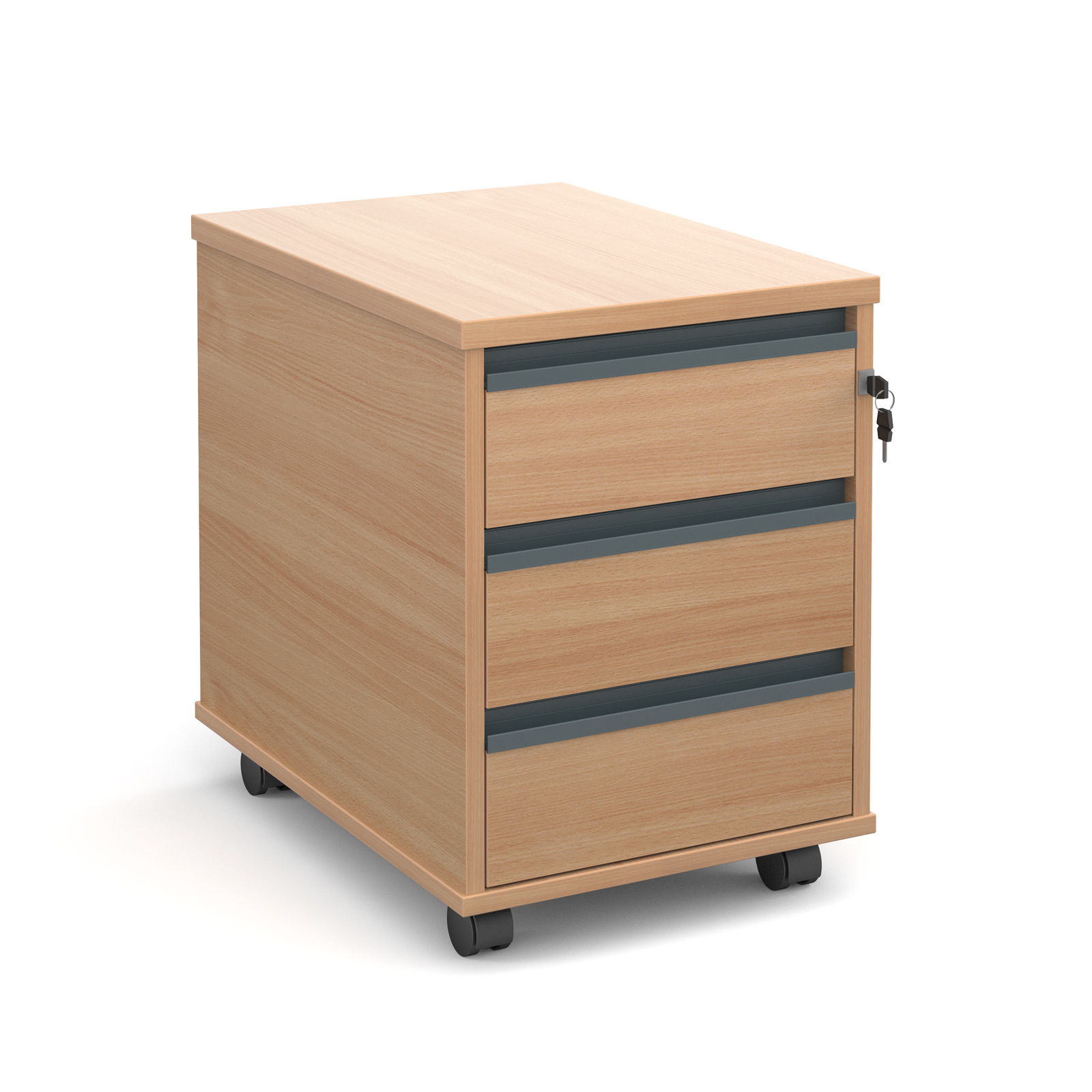 Mobile 3 drawer pedestal with graphite finger pull handles 600mm deep - beech