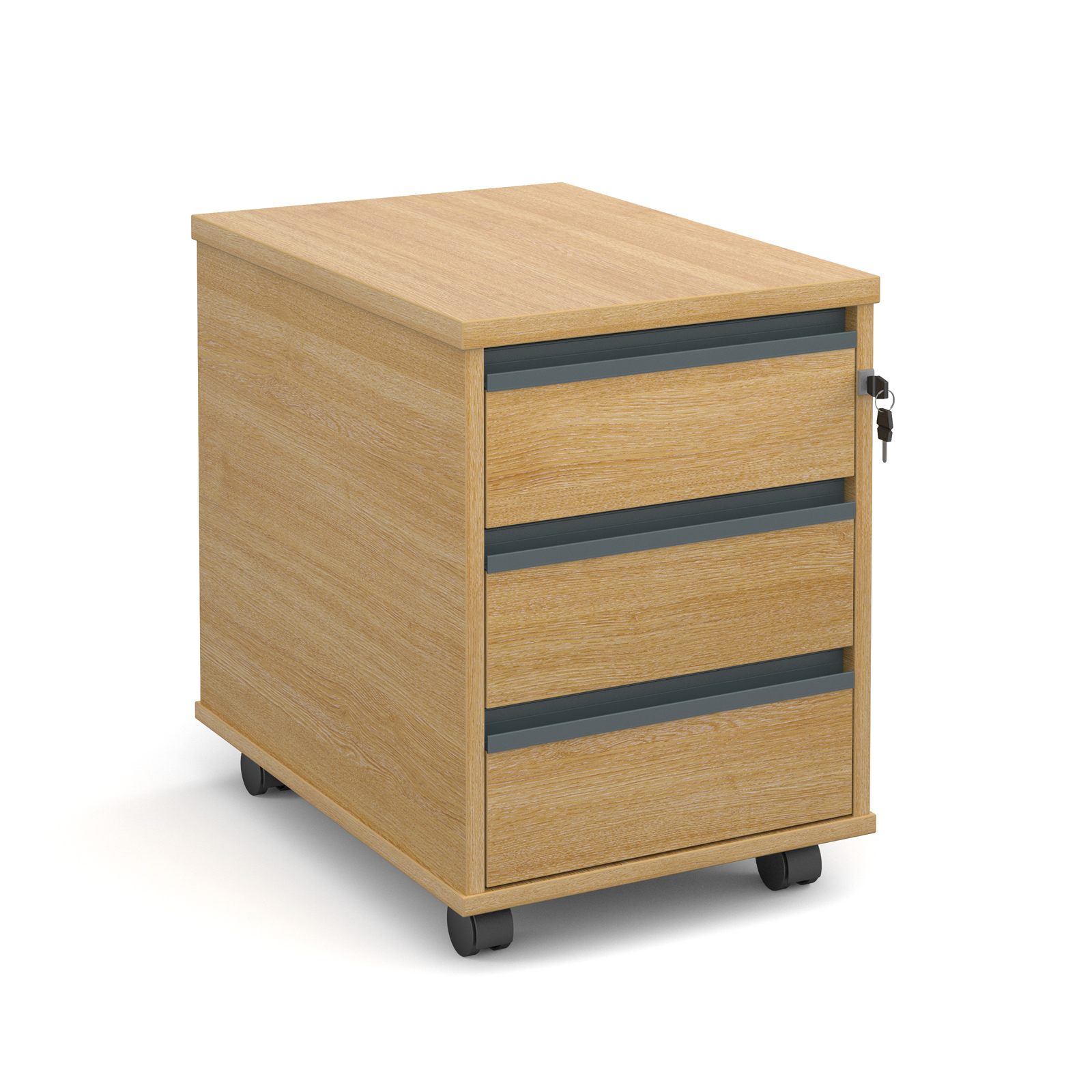 Mobile 3 drawer pedestal with graphite finger pull handles 600mm deep - oak
