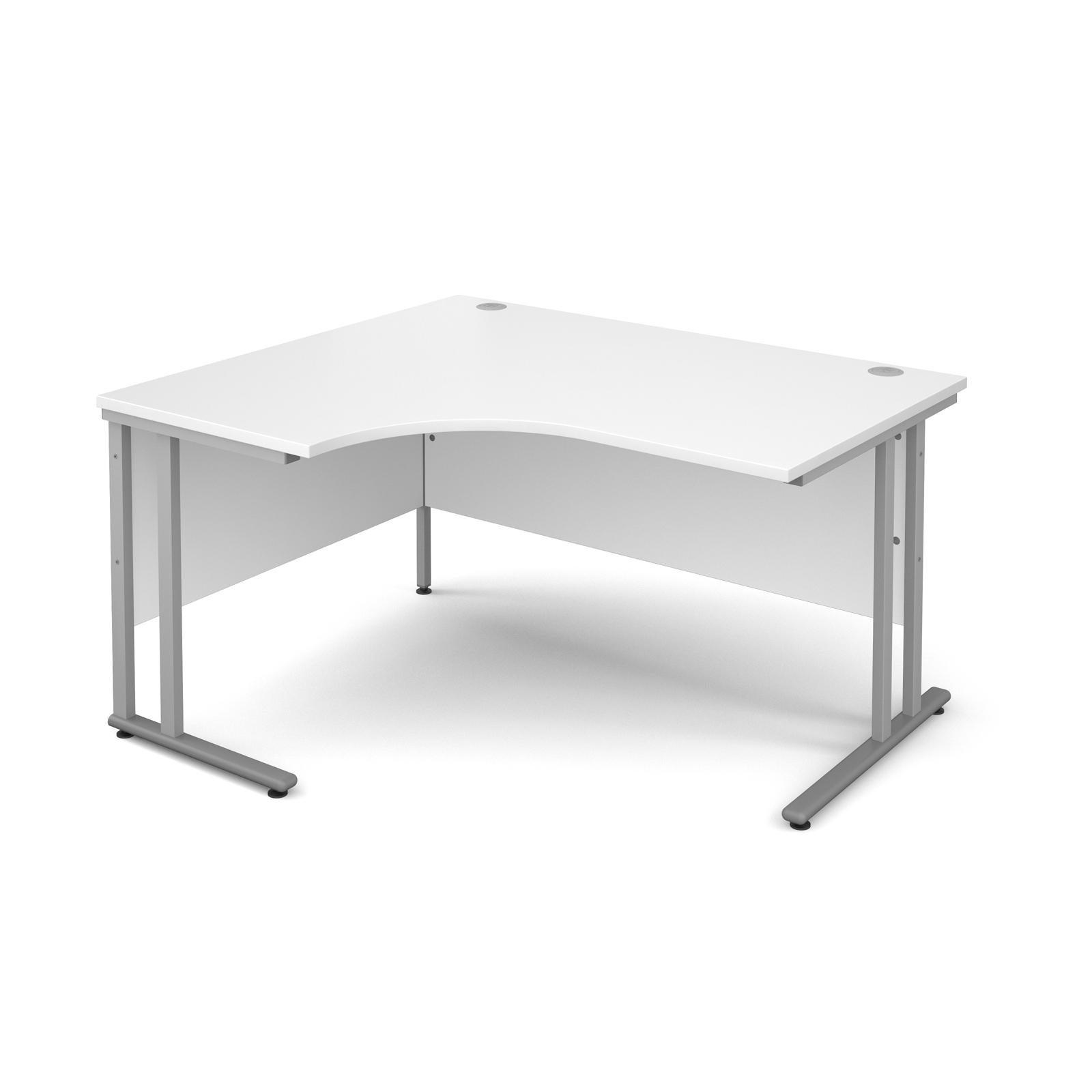 Maestro 25 SL left hand ergonomic desk 1400mm - silver cantilever frame, white top