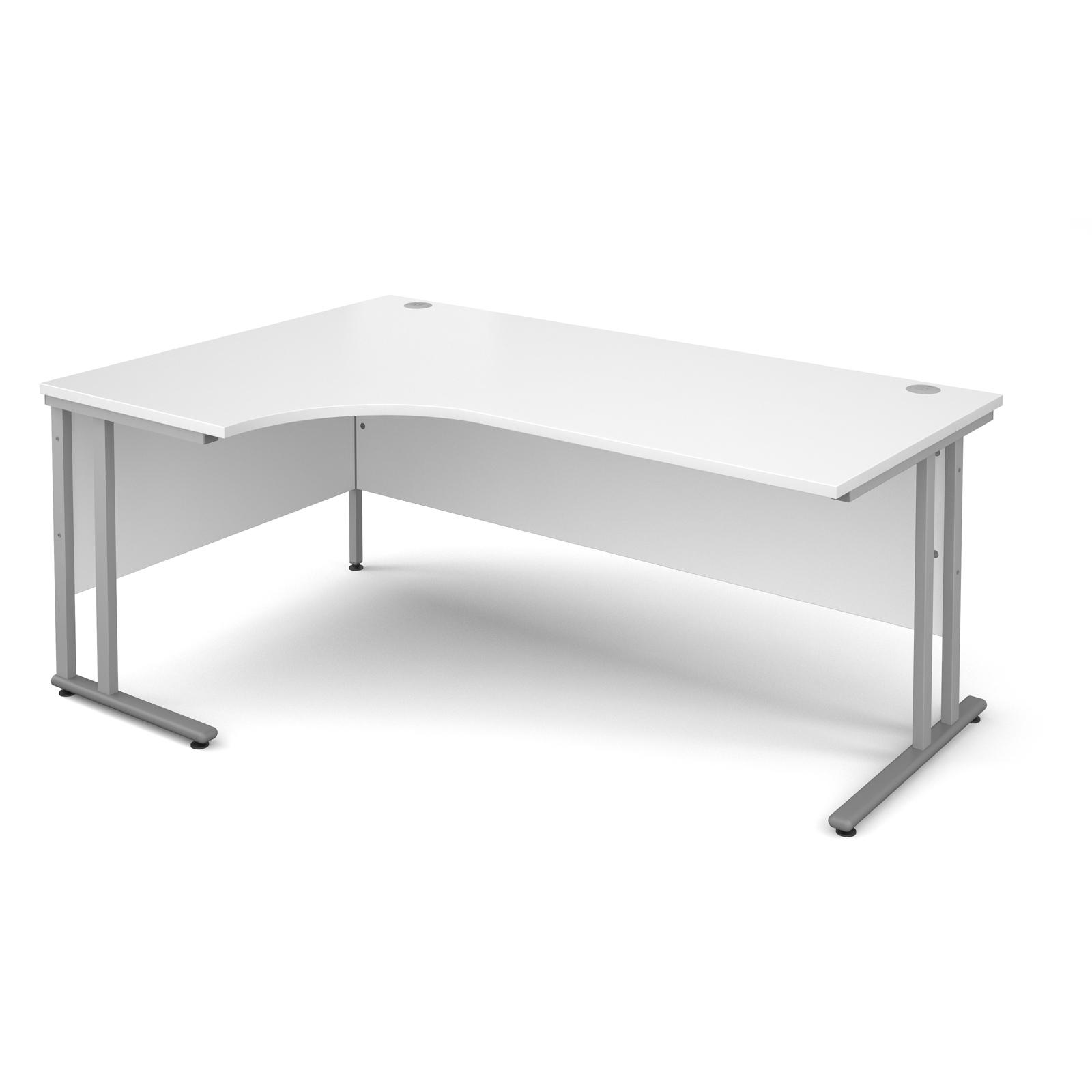 Maestro 25 SL left hand ergonomic desk 1800mm - silver cantilever frame, white top
