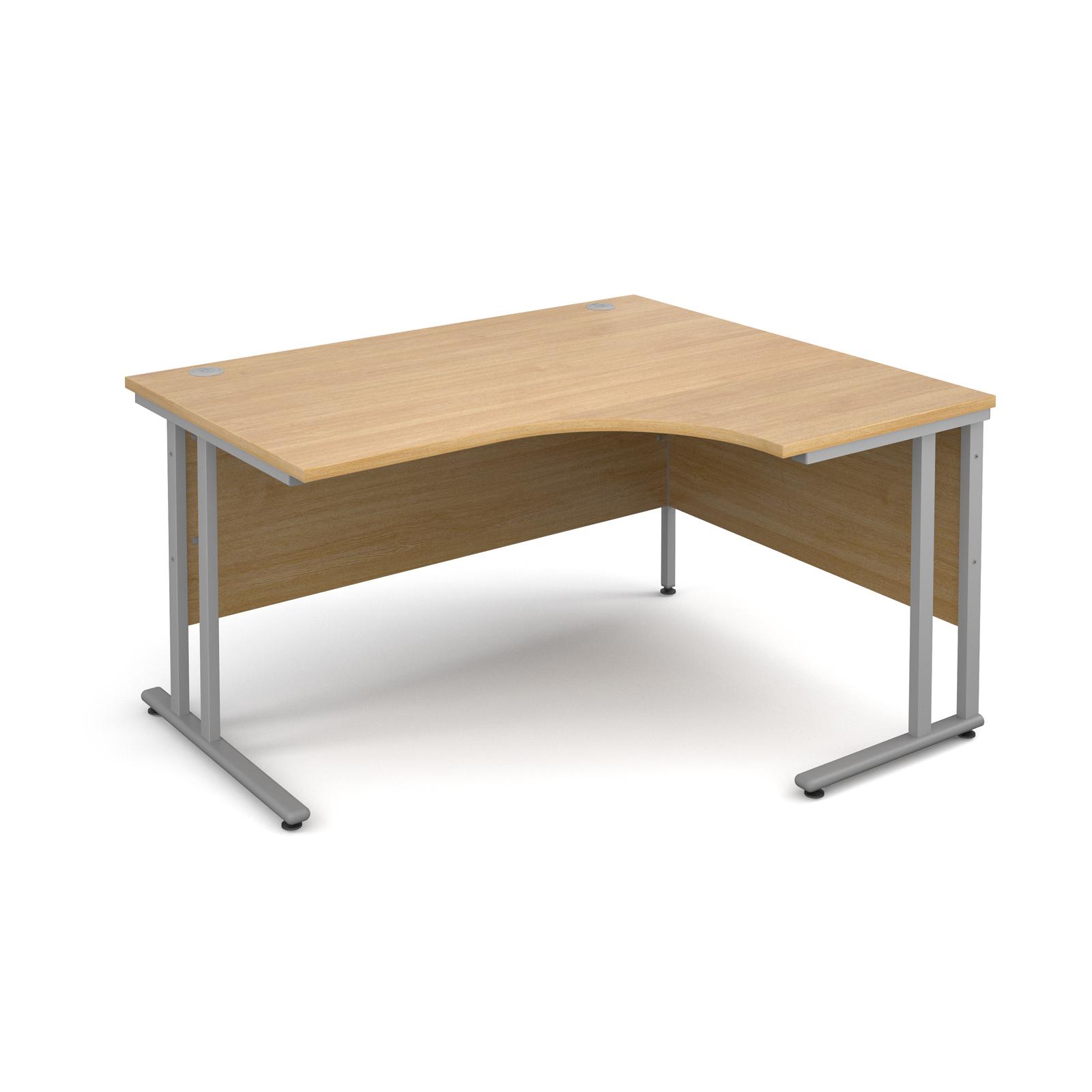 Maestro 25 SL right hand ergonomic desk 1400mm - silver cantilever frame, oak top