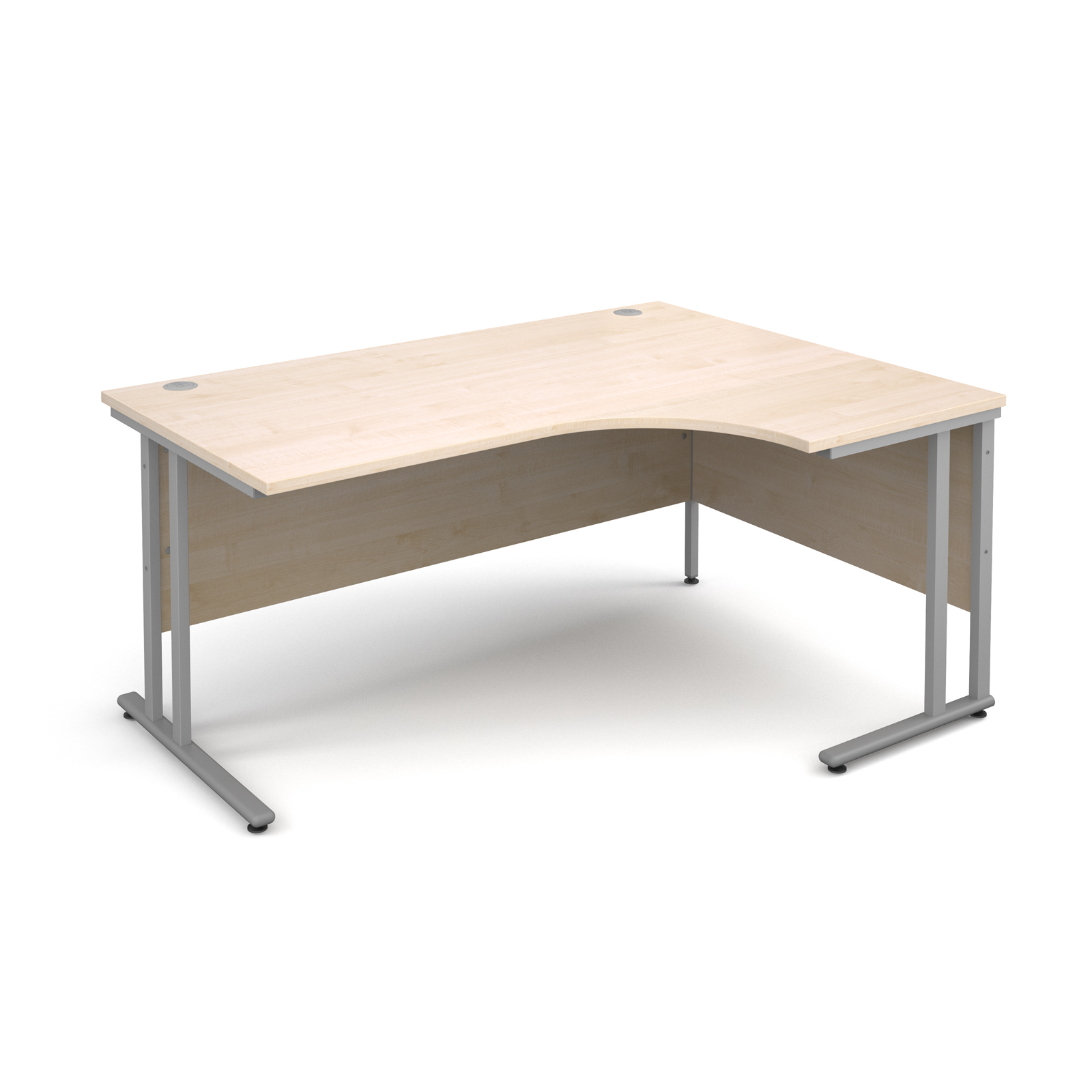Maestro 25 SL right hand ergonomic desk 1600mm - silver cantilever frame, maple top