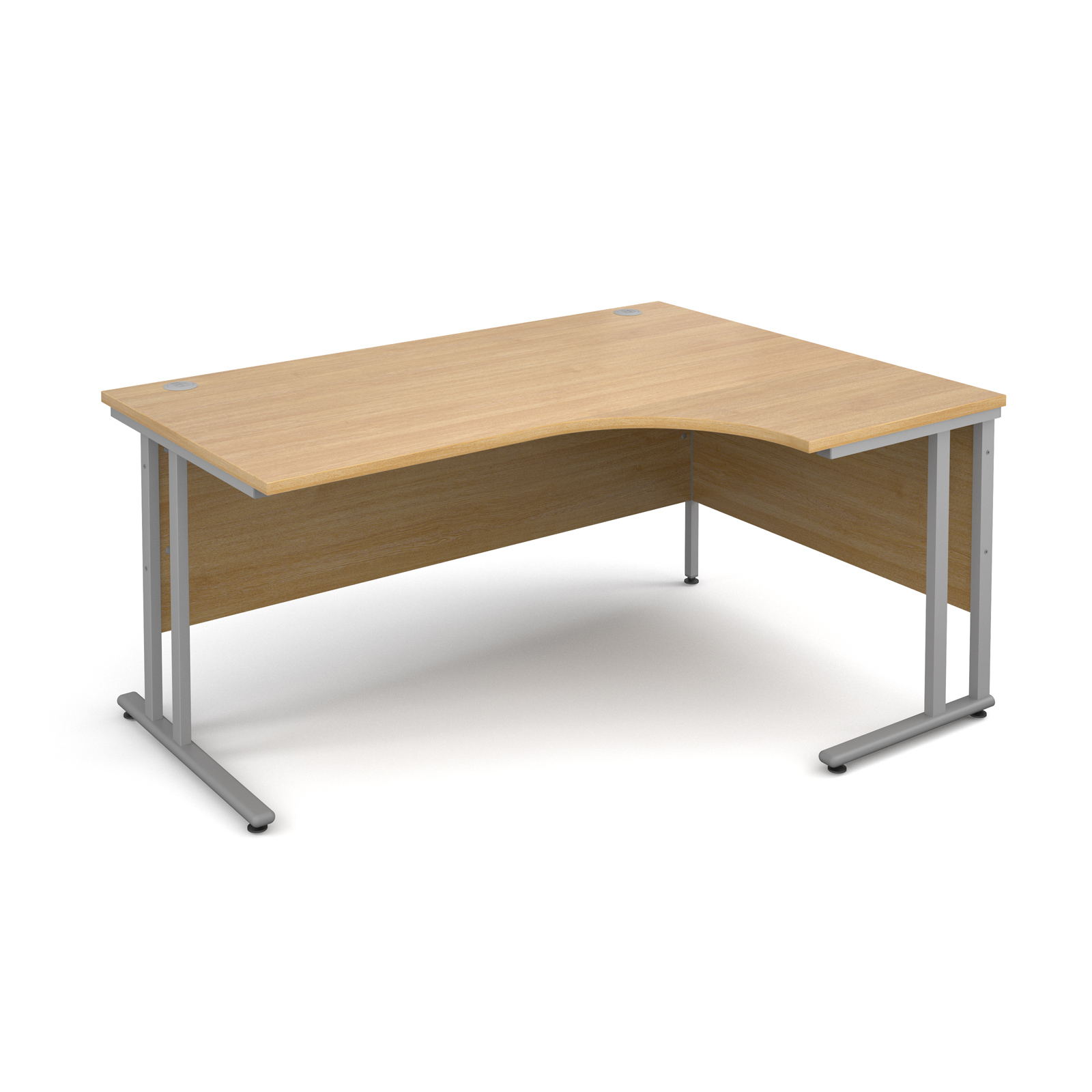 Maestro 25 SL Right Hand Ergonomic Desk 1600mm Silver Cantilever Frame Oak Top